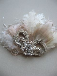 Feather hair accessory fascinator, Wedding bridal Hair accessory, Ivory natural champagne beige antiqued silver Vintage rhinestone on Etsy, £28.18