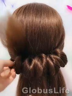 Hairstyles For Medium Length Hair Easy, Up Hairstyles, Braided Hairstyles, Hair Up Styles, Medium Hair Styles, Hair Donut Styles, Hair Style Vedio, Long Hair Video, Grunge Hair