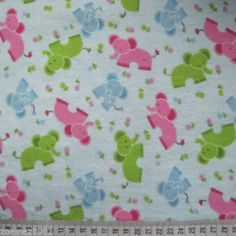 """Cotton Flannelette with childrens elephant print 