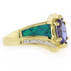 Sterling Silver Opal Inlay Ring with Tanzanite