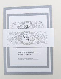 Silver Wedding Invitation with Monogram - Sample Set. $4.00, via Etsy.