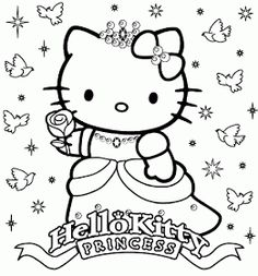 PRINCESS COLORING PAGES: HELLO KITTY PRINCESS COLORING PAGE