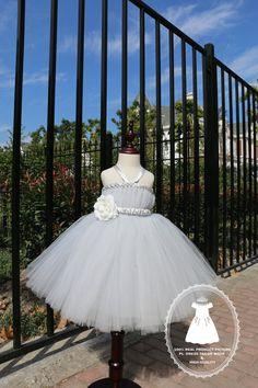 Elegant Grey TuTu Dress Toddlers Flower Girl Dress by PLdress