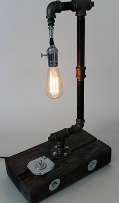 Items similar to Urban Reclaimed- reclaimed and pipe table lamp with chrome on Etsy