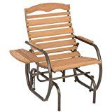 ad: Jack Post CG-21Z Country Garden Glider Chair with Tray, Bronze  This comfortable 1 person glider chair is the perfect chair! The side tables provide a place for your drink or book. Our Country Garden Collection is quality, made to last furniture. The steel frames are painted in a bronze powder coated finish with quality hardwood derived from fruit trees. Assembly Required. Wood care guide included. Maximum Weight Capacity: 250 lbs. Assembled Dimensions:  35.5 X 29.5 X 37 inches. ..