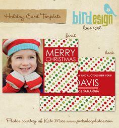 PSD Holiday Card Template - Christmas dots - E125. $8.00, via Etsy.