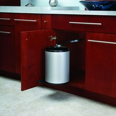Rev A Shelf 15 75 In H X 11 W 10 5 D 14 Liter Stainless Pivot Out Under Sink Waste Container