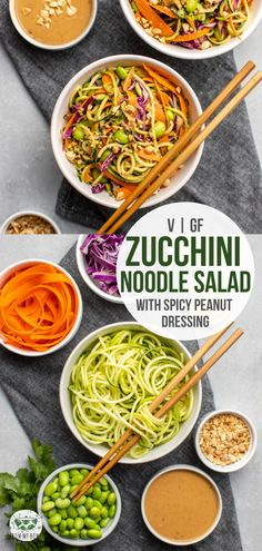 Zucchini noodles combine with edamame crunchy veggies and a spicy peanut sauce to make this fresh filling and protein-packed salad Zucchini Ravioli, Zucchini Noodles Salad, Zucchini Noodle Recipes, Noodle Salad, Edamame Noodles, Carb Free, Easy Peanut Sauce, Peanut Sauce Noodles, Vegetarian Recipes
