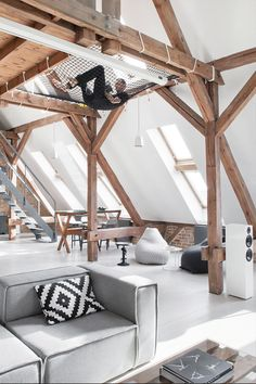 Attic apartment - the advantages to live under the roof- Dachgeschosswohnung – die Vorteile unterm Dach zu wohnen establishment of ideas for Penthouse-the-benefits-under-roof-to-live - Loft Design, Deco Design, House Design, Attic Design, Study Design, Indoor Hammock, Hammocks, Camping Hammock, Diy Camping