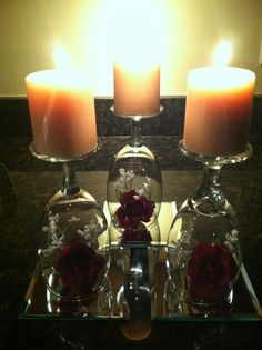 wine glass centerpieces | Roses & Wine Centerpiece~
