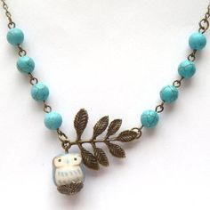 Antiqued Brass Leaf Turquoise Porcelain Owl Neckla