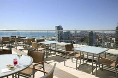 Great breakfast...rooftop at the Barcelona Hilton....