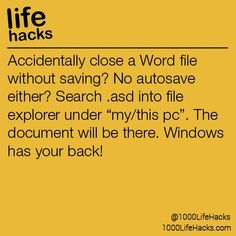 """Ideas About DIY Life Hacks & Crafts 2017 / 2018 Accidentally close a Word file without saving? No autosave either?asd into file explorer under """"my/this pc"""". The document will be there. -Read More – Diy Hacks, Tech Hacks, Life Hacks Computer, Computer Help, Computer Tips, Computer Password, Computer Keyboard, College Life Hacks, Life Hacks For School"""