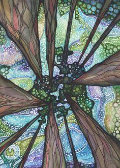 Debajo de magia 5 x 7 impresión de antiguos redwoods secuoyas gigantes pintura, bosque cielo galaxia psicodélicas luces del norte auroras boreales