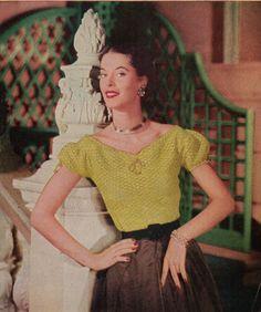 1950's Women's Peasent Crochet Top Pattern PDF by betrunkepenguin, $4.20
