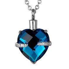 VALYRIA Memorial Diamond Heart Cremation Urn Pendant Keepsake Ashes Necklace,Blue >>> Additional info @