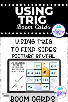 Are you looking for an interactive and self-correcting resource to practice finding the measures of sides of right triangles using trig ratios with your students? There are 2 different pictures with 16 problems for each picture. Students start with the picture totally covered by the answer boxes. As they answer each question correctly, more and more of the covered picture is revealed.