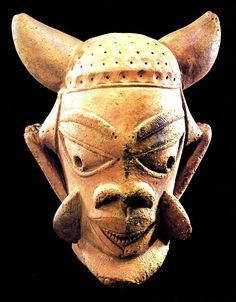 "Nok Terracotta Sculpture of a Horned Head - PF.5474 (LSO)  Origin: Northern Nigeria  Circa: 500 BC to 500 AD  Dimensions: 8"" (20.3cm) high x 7.25"" (18.4cm) wide  Catalogue: V26  Collection: African  Medium: Terracotta"