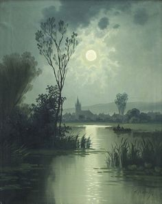 "Karl Rodeck (German, 1841-1909) - ""Insellandschaft am Bodensee bei Vollmond"" (Island landscape on Lake Constance at the full moon)"
