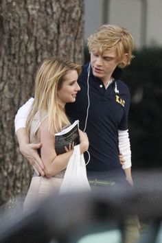 7/26/13: Emma Roberts and Evan Peters on set of '#AmericanHorrorStory' in New Orleans.