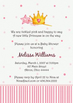 Princess Baby Shower Invitation (Birthday)