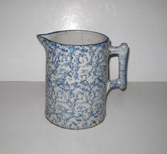 Vintage Heavy Stoneware Blue Spongeware Pitcher.