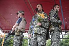 Pavel Gubarev, one of the leaders of the self-proclaimed Donetsk People's Republic, speaks during a protest against Ukrainian military action held in the centre of the eastern Ukrainian city of Donetsk July 6, 2014.