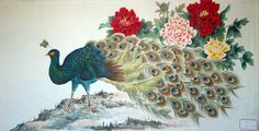 Peacock with flowers.