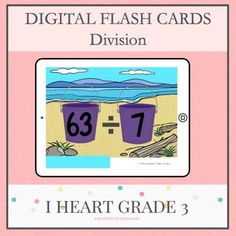 These beach inspired flashcards are a great way to get your students to practice their multiplication facts. From 1 divided by 1 to 81 divided by 9, each Powerpoint slide is equipped with a 5 second timer for responding and Take a Break slides after 15 or 20 equations. No need for a printer with t... Teaching Math, Math Math, Math Fractions, Creative Teaching, Math Games, Maths, Third Grade Math, Grade 3, Division Flash Cards