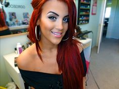 Love Nicole Guerriero's hair! L'Oreal Hicolour Hot Red on top of a vibrant Red on top of Bleach.