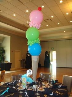 """""""Ice Cream Theme Party!""""  (The centerpieces are large vases covered with brown paper for the """"cone.""""  The """"scoops of ice cream"""" are balloons that are taped together, surrounded by clusters of tiny balloons....so is the """"cherry"""" on top!"""
