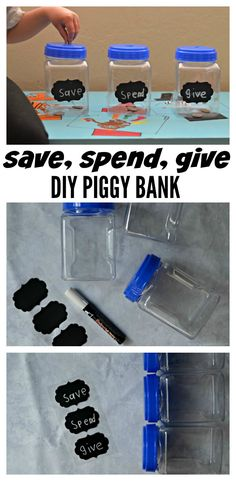 We're sharing how to teach kids to be SMART savers plus an easy DIY Save Spend Give Piggy Bank for them to make for their earnings. via @acraftyspoonful