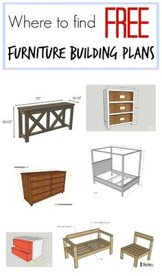 Woodworking Plans Where to find hundreds and hundreds of FREE furniture building plans - Comprehensive list of free building plan sources. Building Furniture, Diy Furniture Projects, Furniture Plans, Furniture Making, Furniture Makeover, Wood Furniture, Home Projects, Furniture Stores, Small Furniture