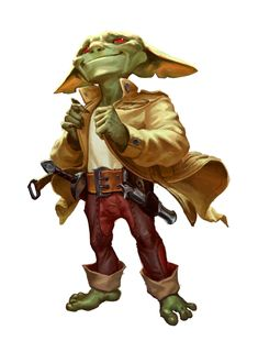 Full-body illustration of the goblin character Zig Dungeons And Dragons Characters, Dnd Characters, Fantasy Characters, Fantasy Character Design, Character Concept, Character Art, Concept Art, Fantasy Races, Fantasy Rpg