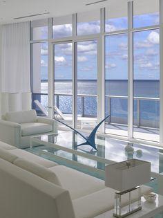 #JenniferPost Designs  Bath Club Miami Beach  living room to ocean view