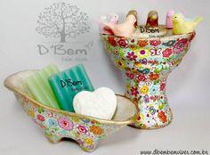 banheira e pia em cerâmica- estilo vintage produzida por D'Bem-bem viver  www.dbembemviver.com.br https://www.facebook.com/dbemviver