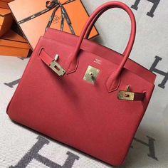 a7014b69b60 Hermes Original Togo Leather Birkin 25 30 35 Handbag Red (Gole-tone  Hardware)  Hermeshandbags
