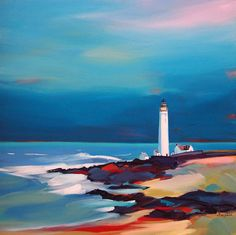 """pam carter, UK Scurdie Ness Lighthouse 32""""x32"""""""