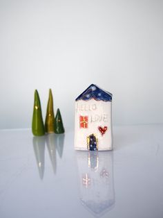 Blue Christmas ceramic house with golden by VitezArtGlassDesign Clay Houses, Ceramic Houses, Ceramic Clay, Stoneware Clay, Blue Christmas, Christmas Home, Handmade Christmas, Kitsch, Sculpture Clay