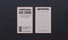 Handmade Personal Namecards by Ade Chong, via Behance