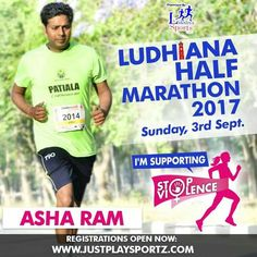 Asha Ram an active Runner supports the cause: STOP VIOLENCE AGAINST WOMEN  #StopViolenceAgainstWomen  For Registrations: https://justplaysportz.com/events/Ludhiana-Half-Marathon-2017  #Punjab #Ludhiana #HalfMarathon #10K #5K #21K