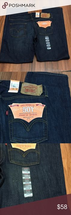 Levi's 501 Straight Leg Button Fly Denim Jeans 33 👽Condition: new with tags   👽Waist  33  👽Inseam 32  👽Style: Straight Leg Levi's Jeans Straight