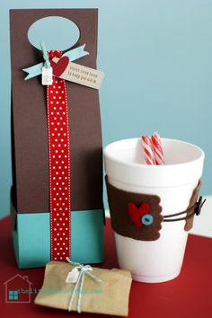 creative carrier (tutorial) for styrofoam cup cozy w/ peppermint sticks & package of hot chocolate & marshmallows :)