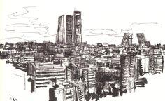 Madrid desde barrio de metropolitano.  dibujo a boligrafo negro y rotulador pincel sobre cuaderno (21 x 14.5 cms)
