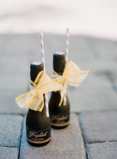 Mini champagne bottles with straws!! Love this Favor Idea!! Are you using something like this on your wedding day?? Via Style Me Pretty