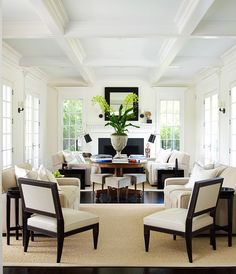 East Hampton Summer Home.  Seating zones, tailored & sophisticated.