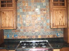 I Admire All Back Splashes You Can Create Any Kind Of Design With A Variety Slate Backsplashslate Tileskitchen