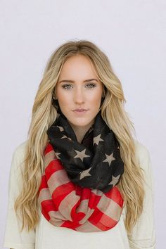 Vintage American Flag Infinity Scarf  Tattered Patriotic  July 4th Scarves Red White and Blue Infinity Flag Scarf Wear $38