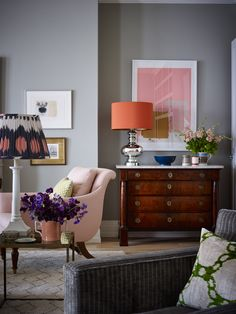 The Neo Trad / Design by Ben Pentreath - blush pink interior inspiration Diy Inspiration, Living Room Inspiration, Interior Inspiration, Patterned Lampshades, Fabric Lampshade, Living Room Decor, Living Spaces, Living Rooms, Theodora Home