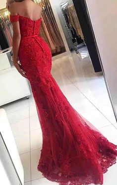 MACloth Mermaid Off the Shoulder Lace Long Prom Dress Red Formal Evening Gown